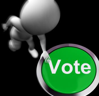 Vote Pressed Shows Poll Election Or Choosing