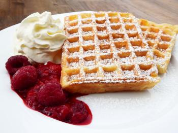 Waffle Beside Cherry and Ice Cream