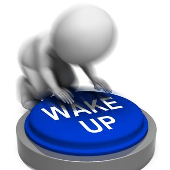 Wake Up Pressed Shows Alarm And Rising