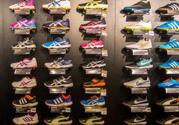 Wall of shoes in a shop