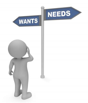 Wants Needs Sign Shows Cravings And Desires 3d Rendering