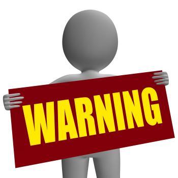 Warning Sign Character Shows Danger And Hazard