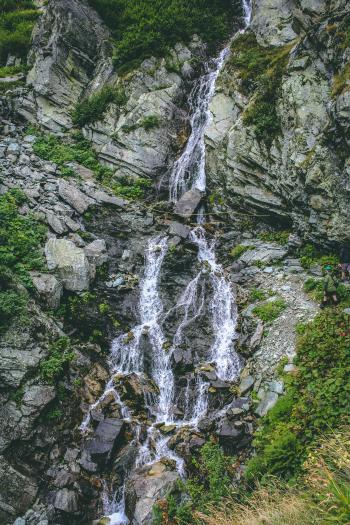 Waterfall Against the Rock