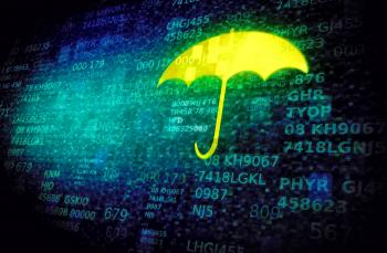 Web and cyber security concept with umbrella on data screen