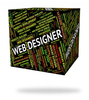 Web Designer Shows Words Designing And Net