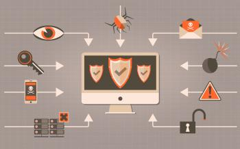 Web Security - Antivirus and Firewall Concept with Shields
