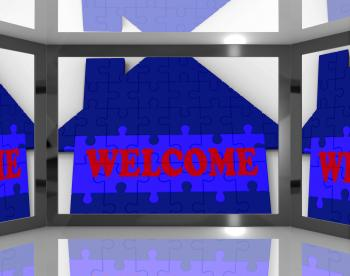 Welcome House On Screen Showing Welcoming Guests