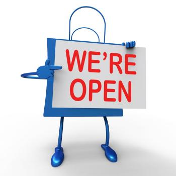 Were Open Sign on Bag Shows New Store Launch Or Opening