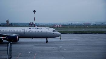 White Aeroflot Passenger Plane on Airport