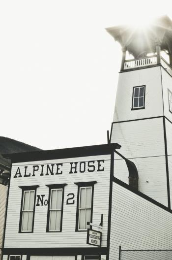 White and Black Alpine Hose Building