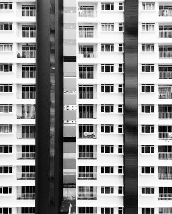 White and Black City Buildings