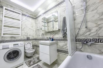 White and black small bathroom