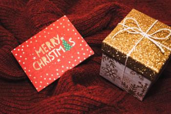 White and Brown Christmas Gift Box With Card