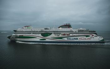 White and Green Tallink Shuttle Ship Photo