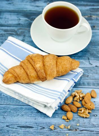White Ceramic Coffee Mug With Bread
