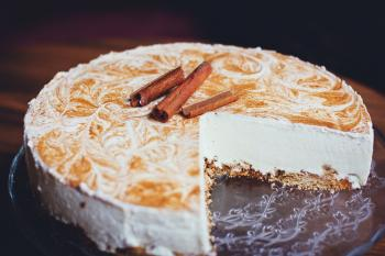 White Cheesecake on Wooden Surface
