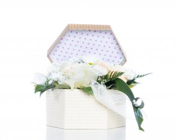 White Flowers Inside Gift Box