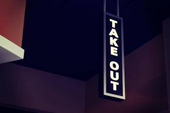 White Led Take Out Signage Hanging