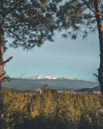 White Mountain Under Blue Sky