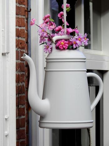 White Petaled Flower With Teapot Vase Hanging Ornament