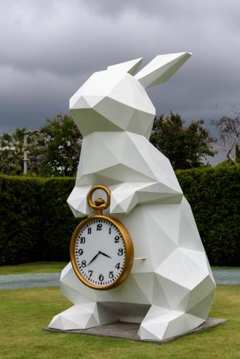 White Rabbit Holding Gold Frame Pocket Watch Statue