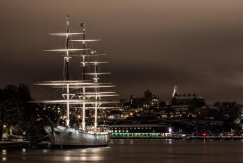 White Ship on Port at Night