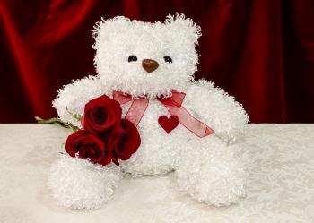 White teddy bear with red roses