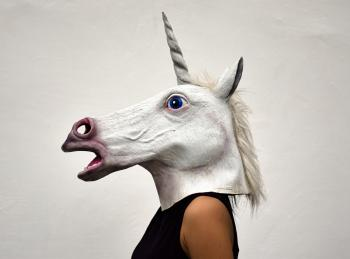 White Unicorn Head Costume