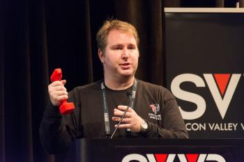 William Provancher (Founder/CEO of Tactical Haptics) giving 60 Second Pitch at SVVR and showing Reactive Grip