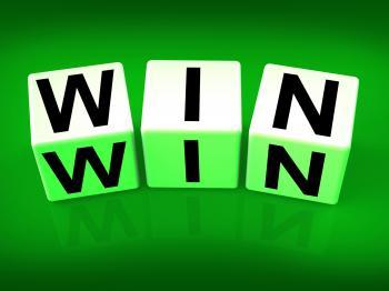 Win Blocks Indicate Success Triumphant and Winning