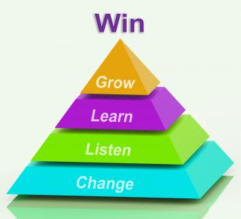 Win Pyramid Shows Success Accomplishment Or Victory
