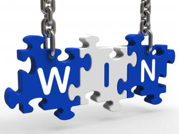 Win Sign Shows Success Winning And Victories