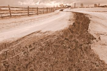Winding Winter Road - Sepia Nostalgia