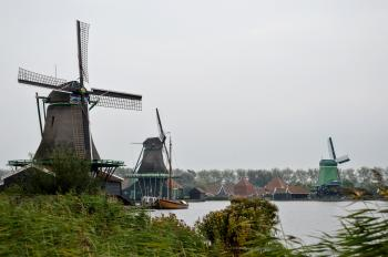 Windmills in Dutch countryside