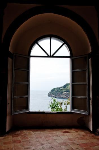 Window view in Aragonese castle, Ischia