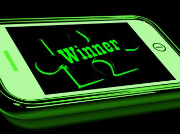 Winner On Smartphone Shows Victorious Participant