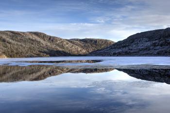Winter lake reflection