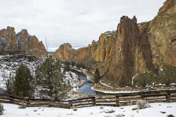 Winter Snow Smith Rock, Oregon