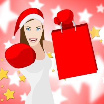 Woman Christmas Shopping Means Retail Sales And Lady