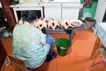 Woman cooks geese