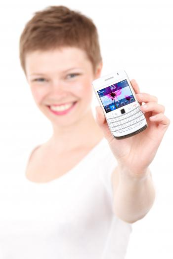 Woman Holding White Qwerty Phone
