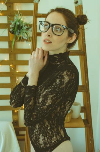 Woman in Black Floral Lace Long-sleeved Shirt