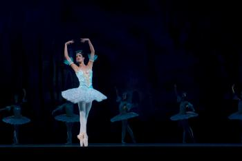 Woman in Blue Ballerina Dress Performing Dance