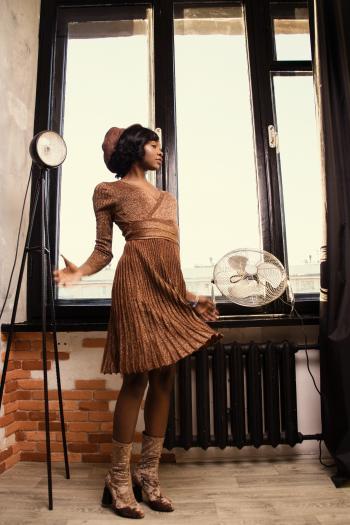 Woman in Brown Dress Standing Beside Black Desk