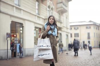 Woman in Brown Pea Coat Standing Outdoor