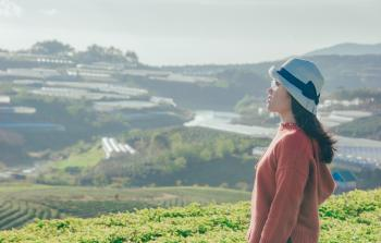 Woman in Red Sweater With Gray Hat Beside Green Field