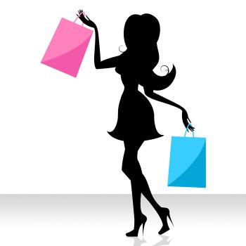 Woman Shopping Means Commercial Activity And Adult