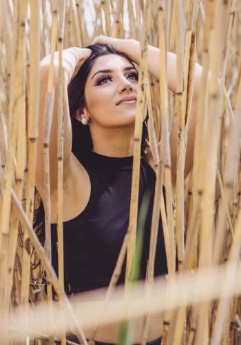 Woman Wearing Black Crop Top