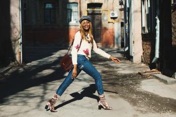 Woman Wearing Blue Jeans