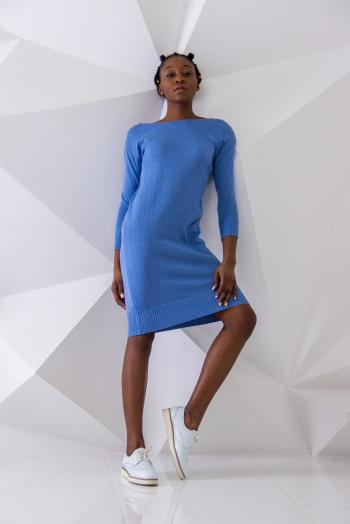 Woman Wearing Blue Sweater Dress and White Sneakers